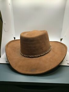 Rare Collectible Mens Brown Genuine Leather Cowboy Hat sz 7 5/8 El Rodeo Ojedo
