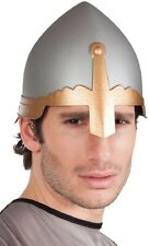 Mens Ladies Silver Medieval Knight Hat Halloween Fancy Dress Costume Outfit