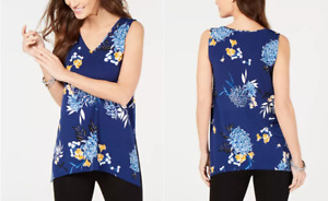 Ladies Alfani Petite Printed Blouse, Blue floral, US PET 1X / UK XXL rrp $54.40