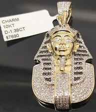 "10K Yellow Gold, 1.39CT Genuine Diamonds Egyptian Pharaoh Charm 1.75"" 10.2 Gram"