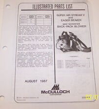 McCULLOCH GAS  BACK-PACK BLOWER/SUPER AIRSTREAM V OEM ILLUSTRATED PARTS LIST
