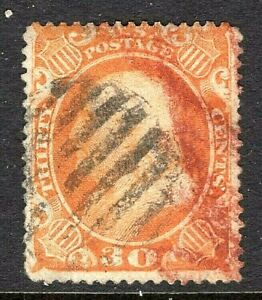 "[MC6] US #38 Used 1860 '30c Washington"" w/Fancy Black Grid & Smudgy Red Cancels"