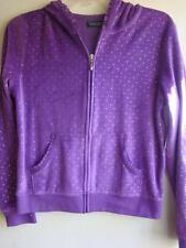 Girls Purple Velour Zippered Jacket W/Hood Xl 14-16 By Faded Glory Brand New