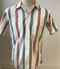 Vtg 1950's Kentfield Regency Rockabilly Cotton Stripe Loop Collar Shirt Usa Med