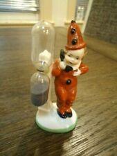 Vtg.Made In Germany Porcelain Jester Girl On Telephone w/ Hourglass Egg Timer