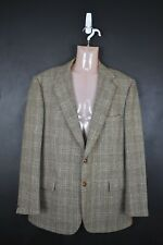 Plaid tweed wool jacket blazer Thornproof 44r xl vintage leather btns