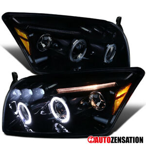For 2007-2012 Dodge Caliber Smoke LED Halo Rim Projector Headlights Head Lamps