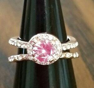 Rose Gold Ring Set, Pink Morganite Ring Set, Sz 6, 7, 8, 9 or 10, Halo Ring Set