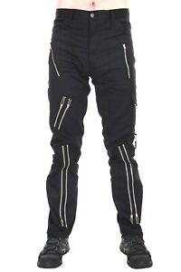Tiger of London Mens Zip Bondage Pants in Black Cotton. Punk Rock.