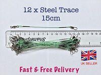12 X Steel Fishing Trace Lures Leader Wire Steel 15cm           ***UK SELLER**