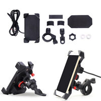 "Adjustable 7/8"" Handlebar Motorcycle Bike Phone Holder 360° Rotation USB Charger"