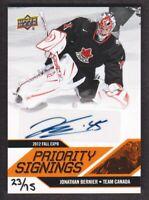 2012-13 UD Toronto Fall Expo Priority Signings Jonathan Bernier Auto 23/75