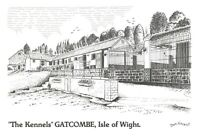 Art Sketch Postcard, The Kennels GATCOMBE Isle of Wight by Don Vincent AS1