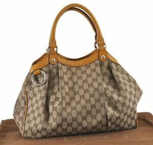 Authentic GUCCI Sukey Tote Bag GG Canvas Leather 211944 Brown Yellow E0725