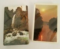 Vintage Two Decks Sealed Playing Cards Arrco Waterfall Sunset Lake Scenic Water