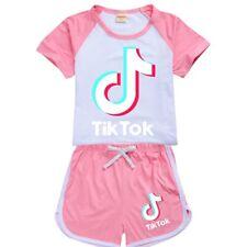 TIK TOK Fashion Sport T-shirts Tops+short pants Boys Girls Birthday Xmas Gifts