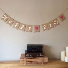 21st Birthday Bunting Banner Vintage Hessian