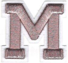 "2 5/8"" x 2 1/2"" Metallic Silver Pink White Felt 3D Raised Letter M Patch"