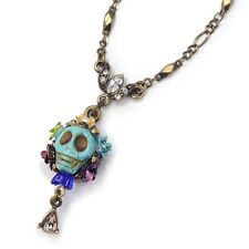 NEW SWEET ROMANCE OLLIPOP CALAVERA SKULL & CRYSTAL TEARDROP NECKLACE TURQUOISE