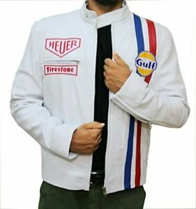 Men's Steve McQueen Le Mans White Gulf Racing Style Stripes White Leather Jacket