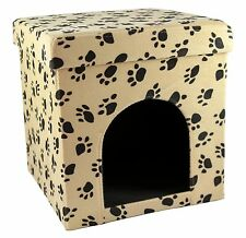 Love2Pet Cat Shelter - Foldable & Portable - Camel with Black Paw Prints