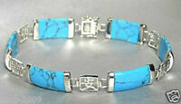 Pretty Blue Turquoise Gemstone 18KGP Fortune Lucky Link Bangle Bracelet
