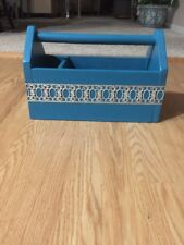 Newly Upcycled Vintage Wooden Tool Caddy. Teal. Silver Trim. Farmhouse Rustic
