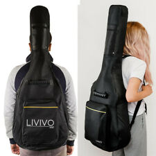 More details for black full size padded protective classical acoustic guitar back bag carry case