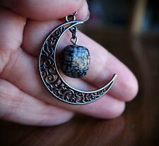 Gunmetal Obsidian Crescent Filigree Moon Necklace Metaphysical/Lolita/Goth/Witch