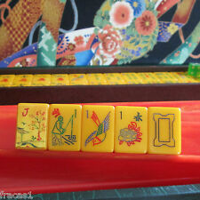 164 Tiles Vtg 1950s Royal Games Catalin Mahjong Set, 4 Swirl Racks Case Mahjongg
