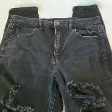 American Eagle Jeans Size 12 Black Extreme Distressed Legs Next Level Stretch