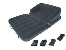 NEW 5 IN 1 INFLATABLE DOUBLE FLOCKED SOFA COUCH BED MATTRESS LOUNGER AIRBED BED