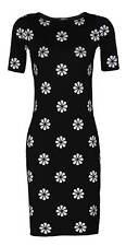 feminines Kleid Strickkleid schwarz Blumen weiß Etuikleid Cocktailkleid 34 - 46