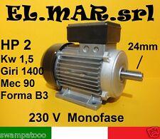 MOTORE ELETTRICO MONOFASE HP 2 kw 1,5 Giri1400 POLI 4 BETONIERA 230V