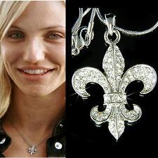 w Swarovski Crystal Fleur de lis lys Paris France Iris Lily Flower Flag Necklace