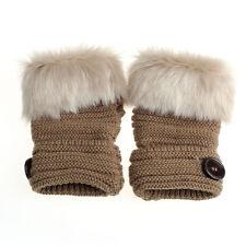 Fashion Warm Winter Women Rabbit Fur Leather Wrist Fingerless Gloves Mittens RW