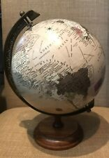"12"" Diameter World Globe Wood Base Tan Color"