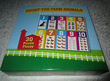 Count The Farm Animals Floor Puzzle 1-10, Ages 3+, 30 Pieces Pre-K-K Brand New