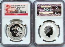 2012 P Australia 1/2 oz Lunar Silver Dragon NGC MS 69 Series II Dragon Label