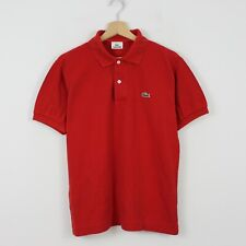 D99 Vtg Lacoste Polo Mens Red Short Sleeve Cotton Shirt Size 3 S