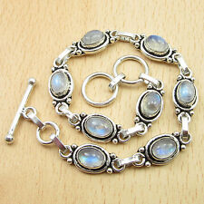"Blue Fired RAINBOW MOONSTONE 8 Gems Bracelet 8"" ! Silver Plated Jewelry"