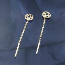 9ct Gold Celtic Style Pull Through Earrings.