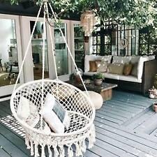 More details for comfort hanging hammock rope swing chair macrame soft outdoor indoor garden seat