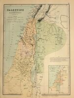 C1910 Landkarte Palästina Alte Divisionen Jerusalem Judaea Samaria Stämme