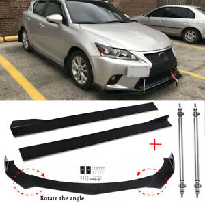For Lexus CT200H 14-17 Front Bumper Lip Splitter Spoiler + Side Skirt +Strut Rod