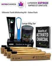 Poudre et dentifrice de charbon plus 4 paquets de brosse à dents en bambou