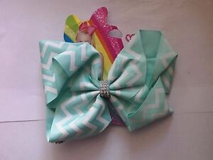 JOJO SIWA LARGE GREEN with WHITE STRIPES HAIR BOW DIAMANTE CENTRE