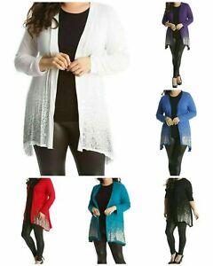 Women Plus Size Long Sleeve Glitter Sequin Sparkle Ladies Cardigan Top