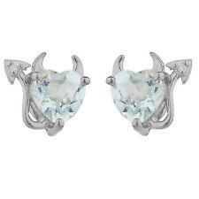 2 Ct Aquamarine & Diamond Devil Heart Stud Earrings 14Kt White Gold