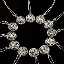 Sterling silver Astrology Zodiac symbol sign necklace 925 box chain pendant S25